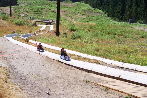 Lilia and I having a blast cruising down the Alpine Slide