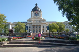 Lilia in front of the S. Dakota state house
