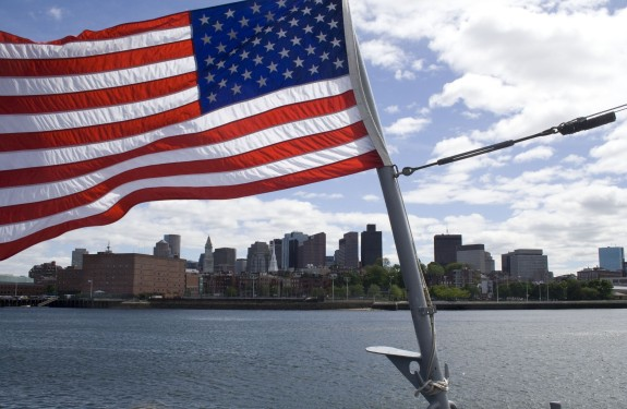 Boston_landscape_american_flag