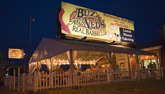 Buz & Ned's Real Barbecue offers indoor and outdoor patio dining. Virginia Tourism Corporation, www.Virginia.org